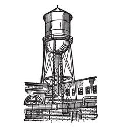 Water tower vintage vector
