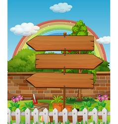 Wooden signs in the park vector