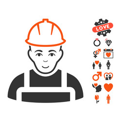 Worker icon with lovely bonus vector