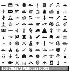 100 combat vehicles icons set simple style vector