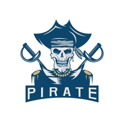 Skull captain pirate in hat with swords design vector