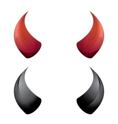 Red and black devil horns isolated vector