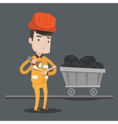 Miner checking documents vector