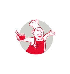 Asian chef serving noodle bowl dancing circle vector
