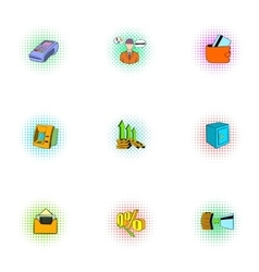 Finance icons set pop-art style vector