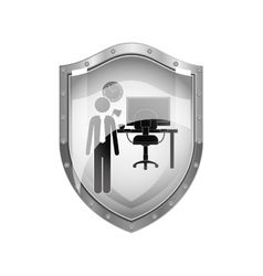 Metallic shield of man administrator in office vector