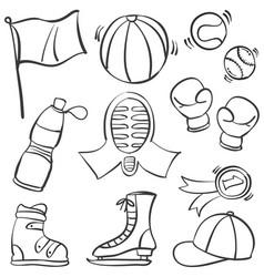 Doodle of object sport equipment vector