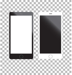 Mockup phone white and black color front view on vector