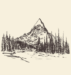 Sketch mountains pine forest river drawn vector