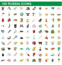 100 russia icons set cartoon style vector image