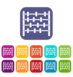 Children abacus icons set flat vector