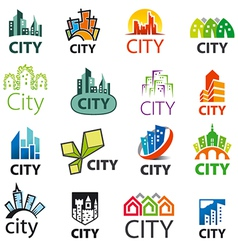 Big set of logos cities vector