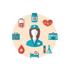 Nurse with medical icons for web design modern vector