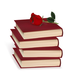 Books and red rose vector