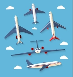 Set planes passenger planes airplane vector