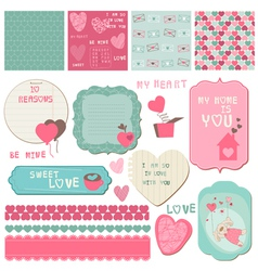 Love scrapbook elements vector