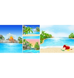 Scene with beach and mountains vector