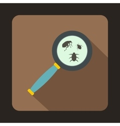 Magnifier and insects icon flat style vector