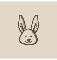 Easter bunny sketch icon vector