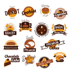bakery hand drawn logos vector image