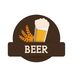 Beer glass foam wheats brown label vector