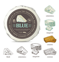 blue cheese sticker design on mockup wrapper vector image vector image