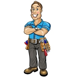 Builder man with snow-white smile vector