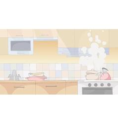 Cartoon in kitchen with utensils vector