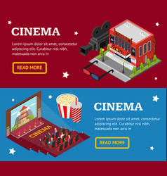 Cinema concept movie banner horizontal set vector