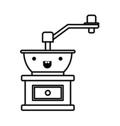 Coffee grinding with crank in front view vector