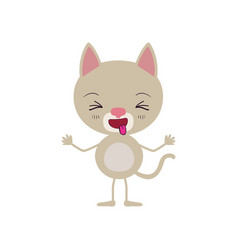 Colorful caricature of cute cat disgust expression vector