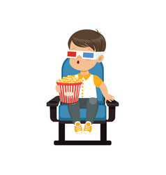 Cute astonished little boy in 3d glasses sitting vector
