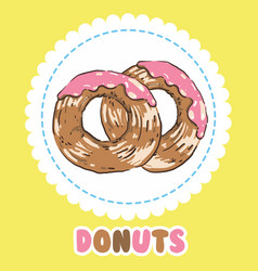 donuts with pink tasty glazing donut icon vector image