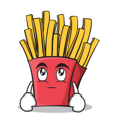 Eye roll french fries cartoon character vector