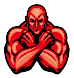 fighter mascot crossing arm vector image vector image