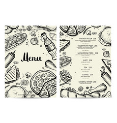 food and drink menu design with prices vector image vector image