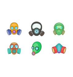 Gas mask icon set cartoon style vector