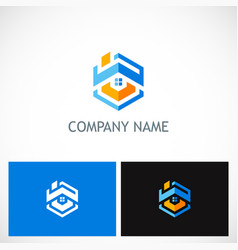 home roof polygon company logo vector image