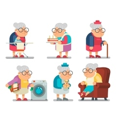 Household granny old lady character cartoon flat vector