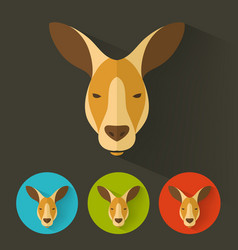 kangaroo portrait with flat design vector image vector image