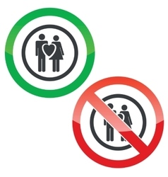 Love couple permission signs vector