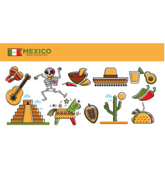 Mexico travel tourism famous landmarks and tourist vector
