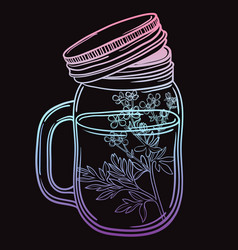 print with a beautiful jar and a branch with vector image