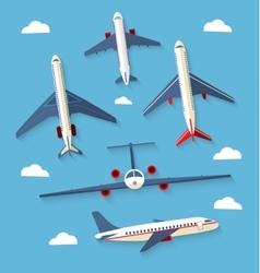 Set planes passenger planes airplane vector