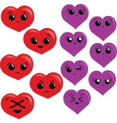 Set with funny red and purple hearts with vector