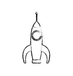 Space ship rocket transport cartoon sketch vector
