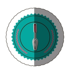 Sticker color round frame with carving fork vector