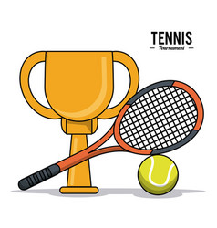 tennis sport trophy ball racket image vector image vector image