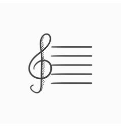 Treble clef sketch icon vector image
