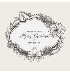 Vintage christmas greeting card Happy new year vector image vector image